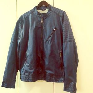 Men's Guess Perforated Blue Moto Jacket